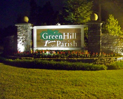 GreenHill Parish Landscaped Entrance